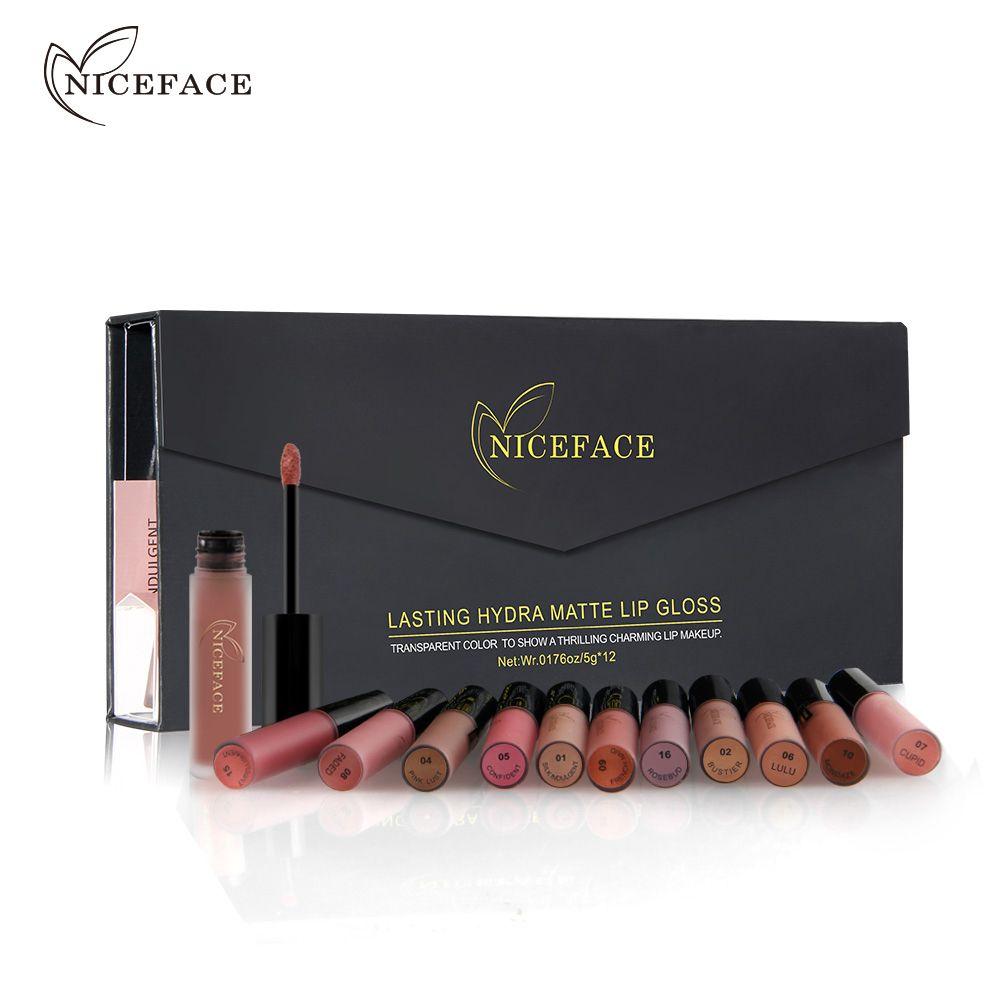12Pcs/Set Matte Long-Lasting Lipstick 26 Colors Lip Gloss Waterproof Lip stick 5gx12 Beauty Lips Makeup NICE FACE #L17013