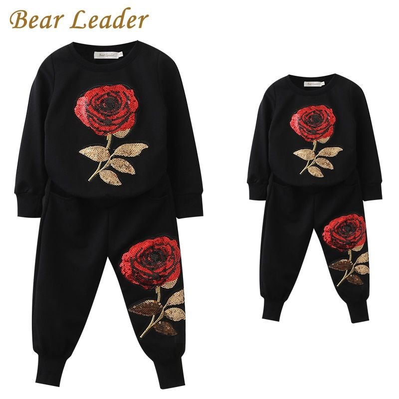 Bear Leader 2018 New Spring Style Family Matching Outfits Mother And Daughter Long Sleeve Rose Floral Sweatshirt+Pants <font><b>2Pcs</b></font> Suit