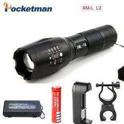 Lampe de poche E17 CREE XM-L2 8000LM Tactique cree Led Torche Zoom cree LED lampe de Poche Lampe Torche Pour 3 piles aaa ou 1x18650 batterie