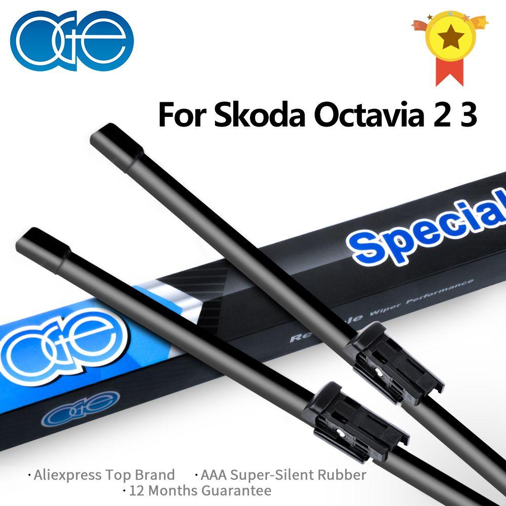 Balais d'essuie-glace avant et arrière Oge pour Skoda Octavia 2 3 A5 A7 1996-2017 pare-brise en caoutchouc accessoires de voiture de haute qualité