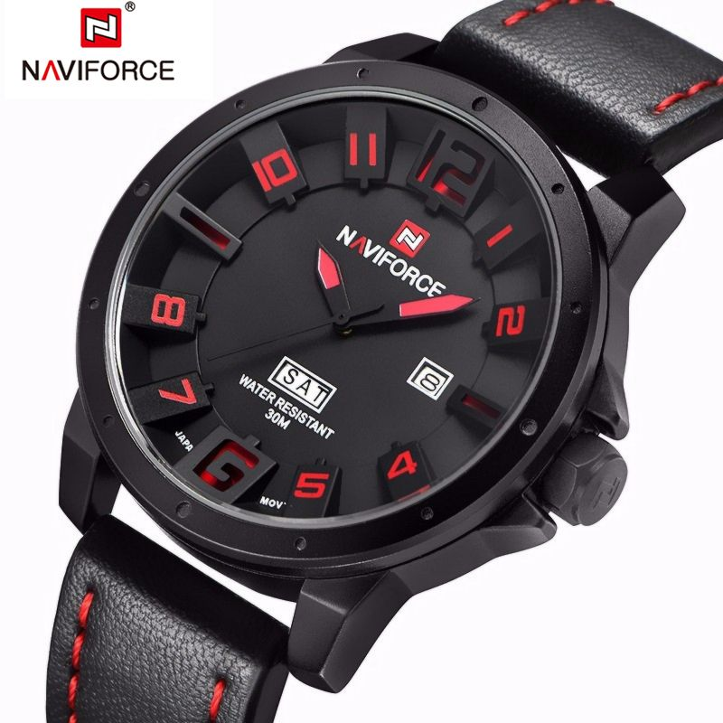 <font><b>NAVIFORCE</b></font> Original Luxury Brand Military Army Quartz Watch Men Analog 3D Dial Clock Waterproof Wristwatches Relogio Masculino