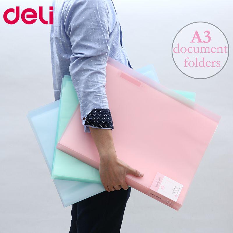 Deli A3 Data document presentation folder 297*420mm 60/40 page transparent folder vertical insert document booklet