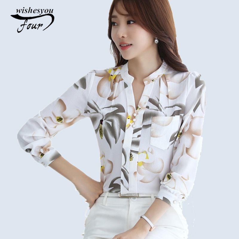 2018 nouvelle mode V-cou blouse en mousseline de soie s Slim Femmes blouse en mousseline de soie Bureau Work Wear chemises haut pour femme grande taille Blusas 882G 25
