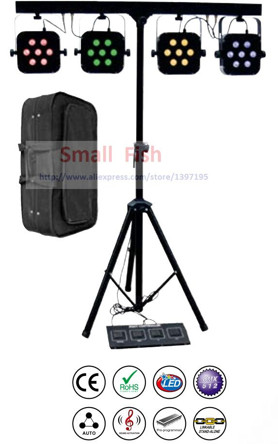 Free Shipping Led Par Kit 4pcs 7x10W 4in1 RGBW Led Slim Flat Par Lights with Light Stand DMX Bar Foot Controller Bag Package Set