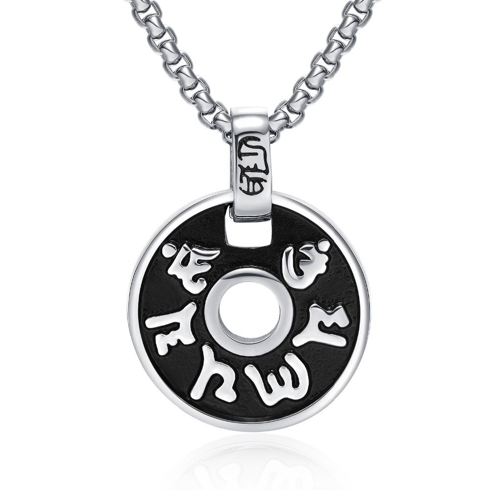 Men's Six words daming titanium steel pendant Japan and South Korea version of tide jewelry free shopping