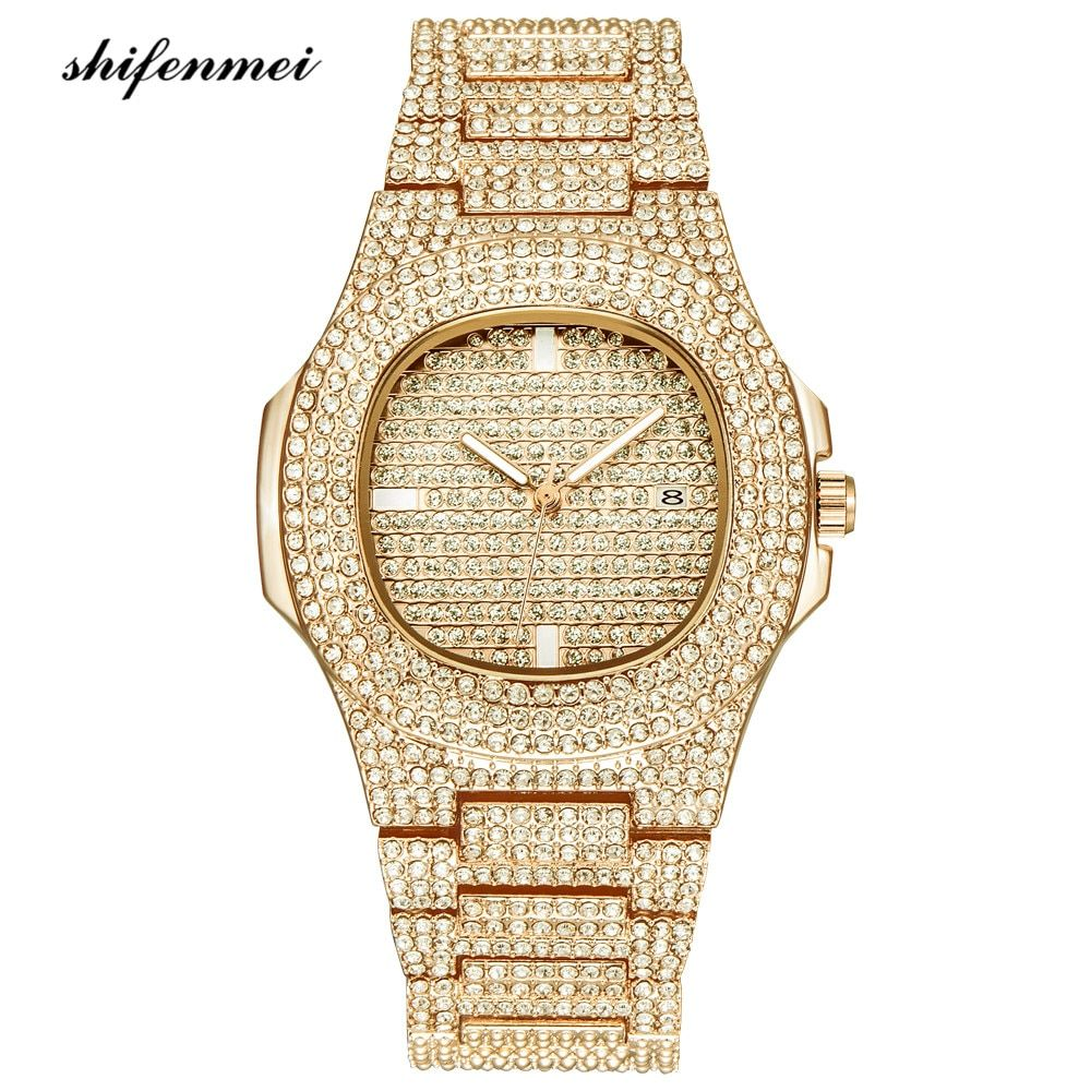 Mens Watches Fashion Diamond Automatic Date Quartz Watch Men Gold Stainless Steel Business Mens Watches Top Brand Luxury clock
