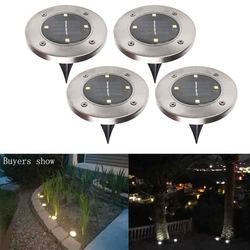 Tenaga Surya Ground Light Tahan Air Taman Jalur Dek Lampu dengan 8 LED Tenaga Surya untuk Halaman Rumah Jalan Rumput Peta
