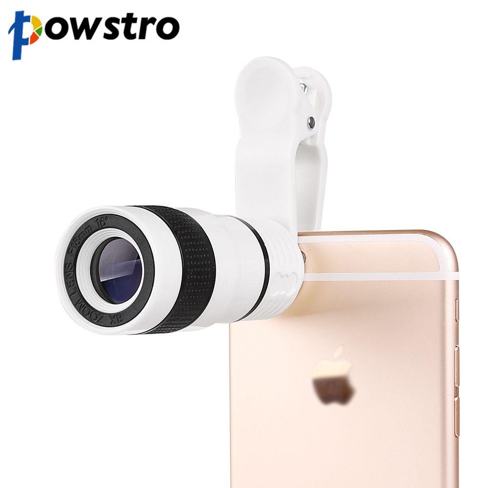 Powstro 8X Zoom Télescope Téléobjectif Camera Lens avec Clip Camera lens pour iphone 6 6s pour samsung pour htc et autres smartphone