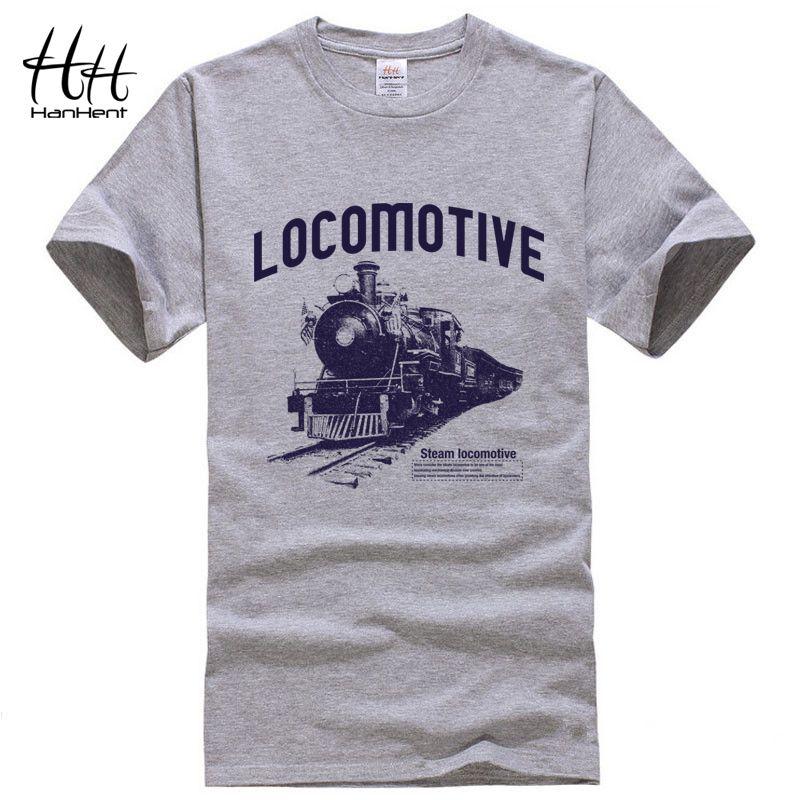 HanHent Locomotive imprimer T-shirt 2018 hommes t-shirts été mode Rock o-cou lâche décontracté hommes T-shirt Streetwear vêtements