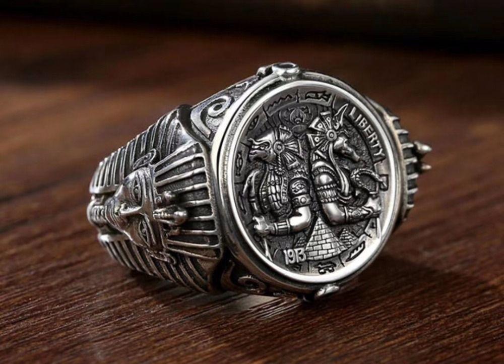 S925 sterling silber ring persönlichkeit mighty Anubis Rangers Ägyptischen pharaos einstellbar männer ring