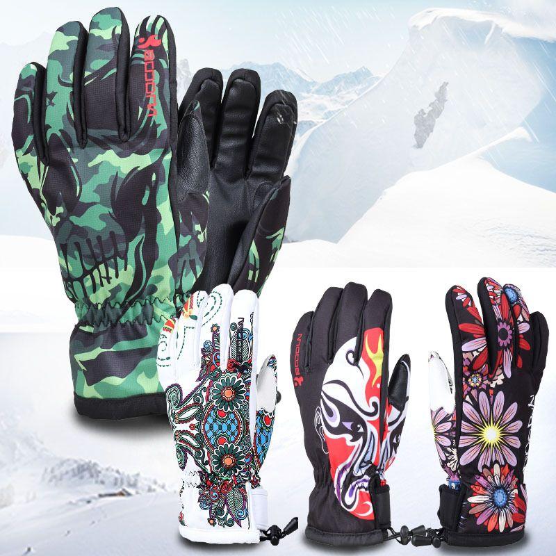 BOODUN gants de ski d'hiver coupe-vent imperméable plaque unique hommes et femmes professionnel hommes et femmes gants chauds