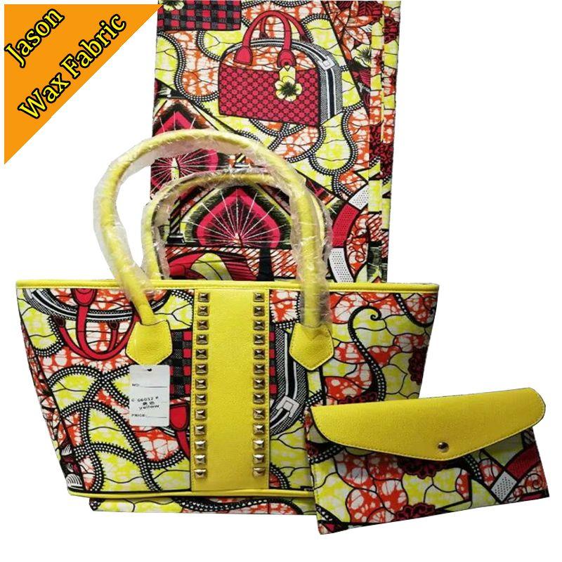 High quality african wax prints super wax Handbag match african 100%cotton ankara wax fabric 6yard for dress DF