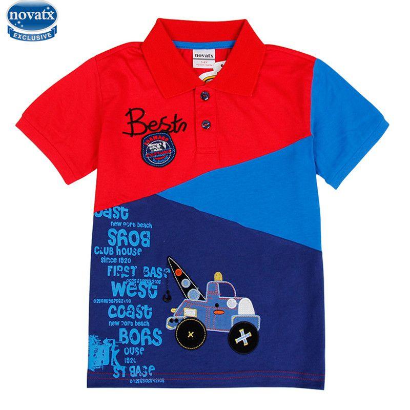 Novatx C6265 2017 дизайн мода лето Детская футболка с короткими рукавами для мальчиков в стиле пэчворк с изображением автомобиля футболка для дете...