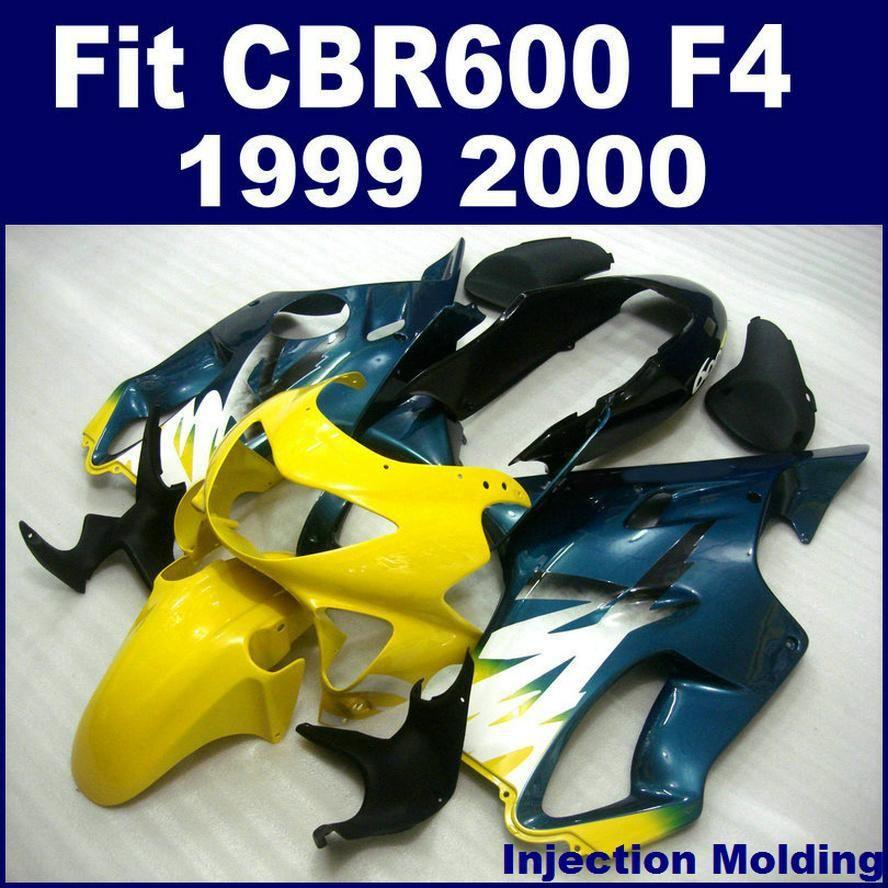 ABS kunststoffteile für HONDA CBR 600 F4 1999 2000 vollverkleidung schwarz gelb 99 00 CBR600 F4 motorrad verkleidungen ZTGH