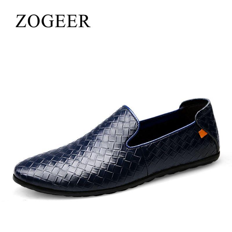 ZOGEER Tamaño 38-45 marca zapatos de los hombres, Piel suave Slip-on zapatos hombre, 2017 Nuevo Moda mocasines hombre