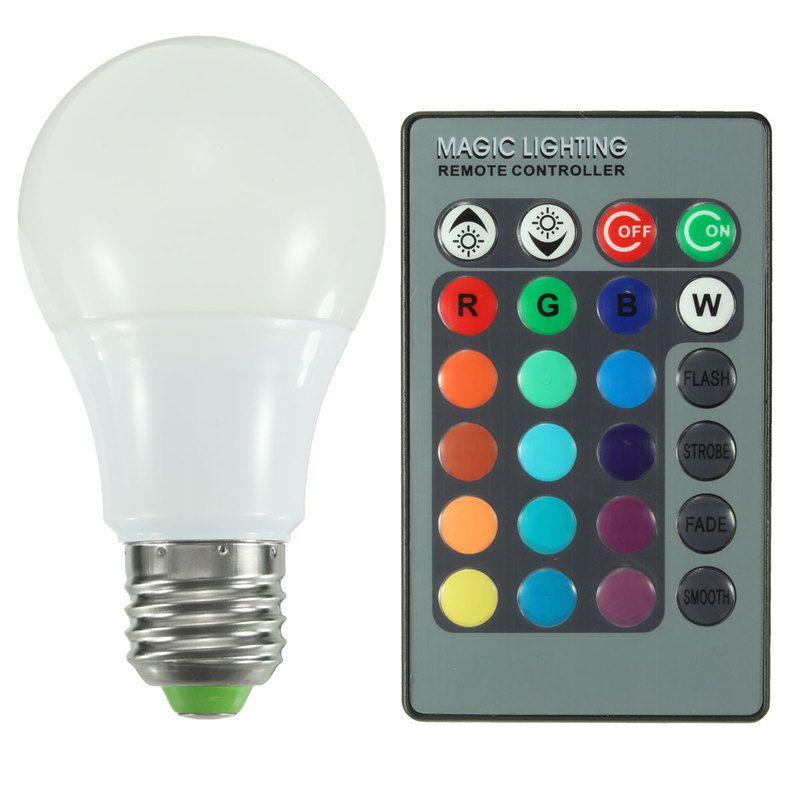 E27 RGB LED Bombilla 3 W 5 W 10 W poder real 16 color cambiante Globos terráqueos lámpara LED con 24 teclas Control remoto ac85-265v