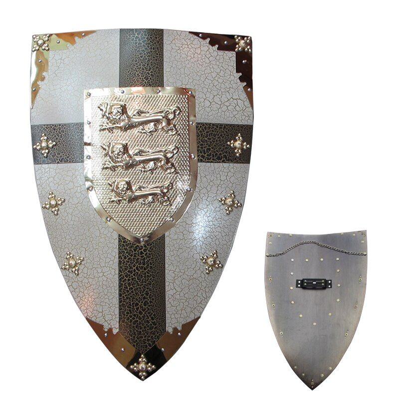 Medieval Shields For The Richard Lionheart Shield Historical Wall Hanging Ornament Real Steel Material Display Ready