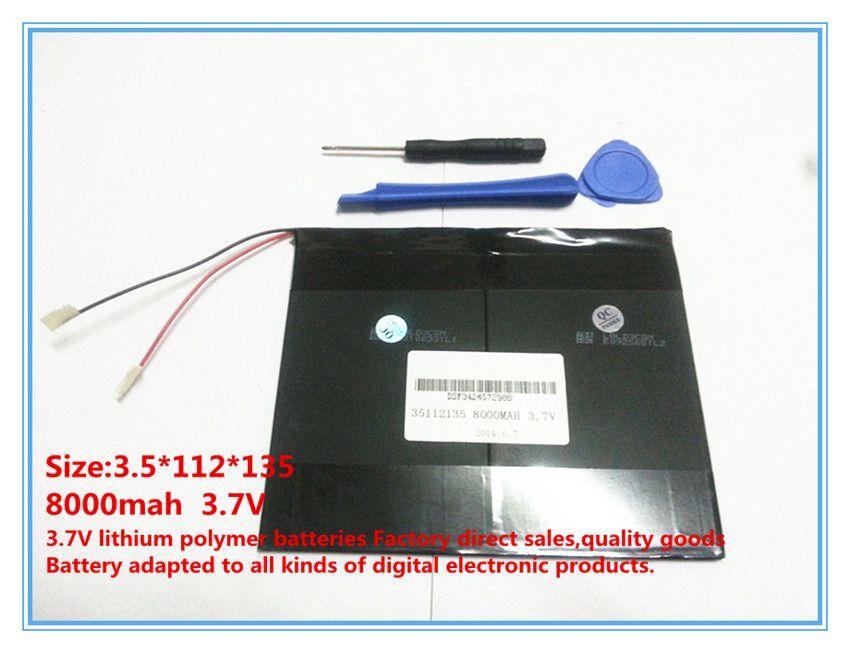 3.7 V, 8000 mAh, polymère au lithium ion/Li-ion batterie pour tablet pc, MID, PDA, DIY pour Sanei N10 Ampe A10 Quad Core, HKC T90 Dual Core