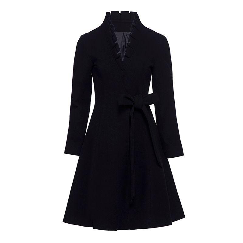 Sisijuly Women's Overcoat Casual Solid Black Mid-Length V-Neck Hemline Belt&Fallbala Autumn&Winter Girl's New Arrivals Coat