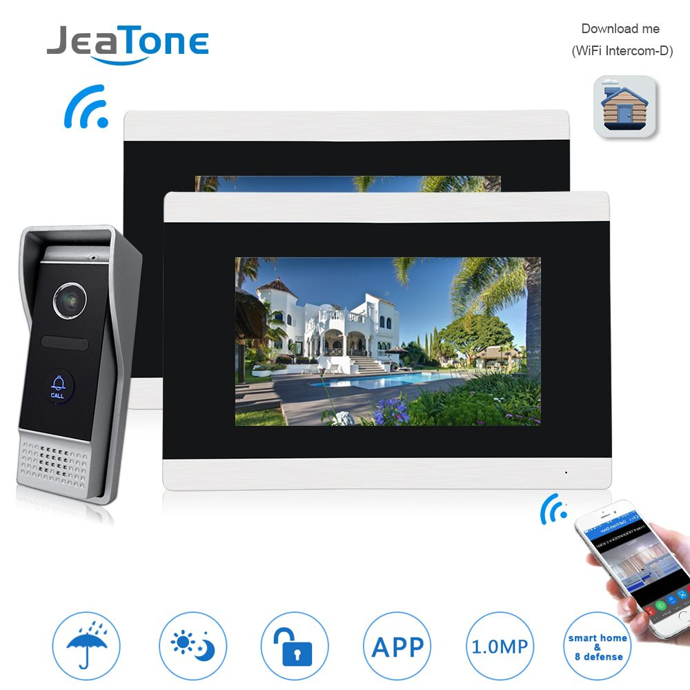 7'' Touch Screen Wireless WIFI IP Video Door Phone Video Intercom Doorbell Apartment Access Control System Motion Detection 1-2
