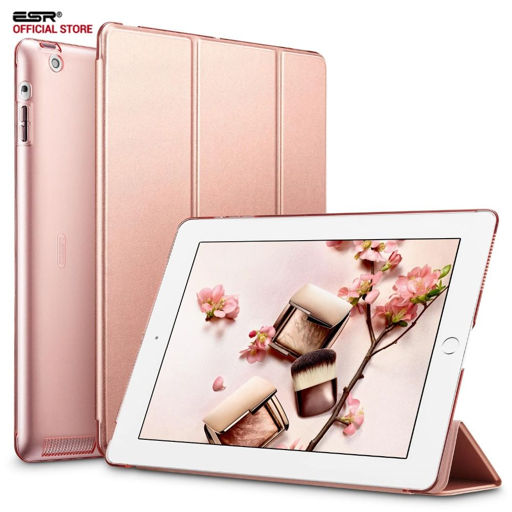 Case for iPad 2 3 4, ESR Yippee Color PU Transparent Back Ultra Slim Light Weight Trifold Smart stand Cover Case for iPad 2/3/4