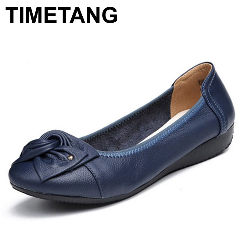 TIMETANG Plus Size Spring\Autumn Genuine Leather Shoes Woman Flats Work Classi Fashion Bowknot Female Casual Ballet Ladies Shoes