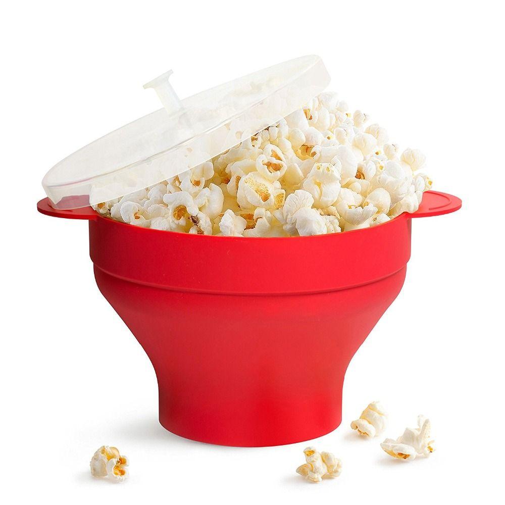 Bol à pop-corn à Air chaud micro-ondes en Silicone pliable de haute qualité fabricant de pop-corn rouge en Silicone pour regarder le Film