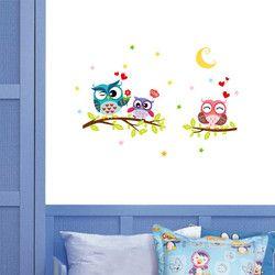 43 cm * 63 cm Removable Tahan Air Kartun Hewan Owl Wall Stiker Untuk Kamar Anak-anak PVC Wallpaper untuk Kamar Rumah dekorasi Decor