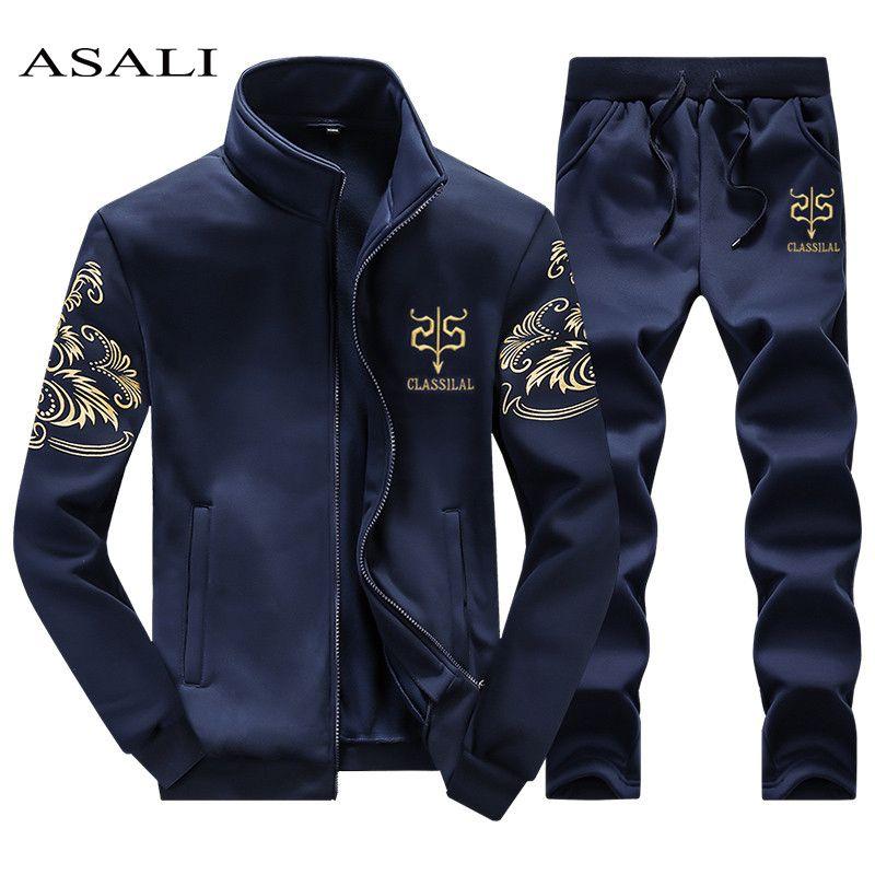 ASALI 2017 Hommes Sportwear de Costume Sweat Survêtement Sans À Capuche Hommes Casual Active Costume Zipper Outwear 2 PC Veste + pantalon Ensembles