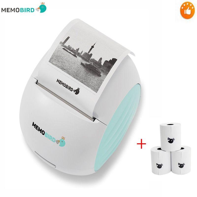 Nouvelle Imprimante MEMOBIRD G2 Wifi Portable Imprimante Code À Barres Sans Fil Photo Imprimante Thermique Micro connecteur + 3 Rouleau de Papier