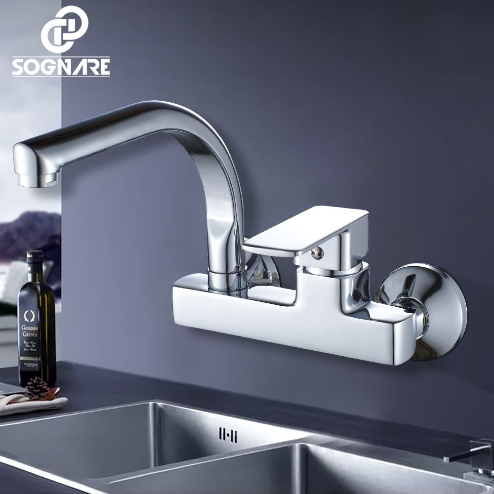 SOGNARE Wall Mounted Kitchen Faucet Single Handle Kitchen Mixer Taps Dual Holes Hot and Cold Water Tap 360 Degree Rotation D2203