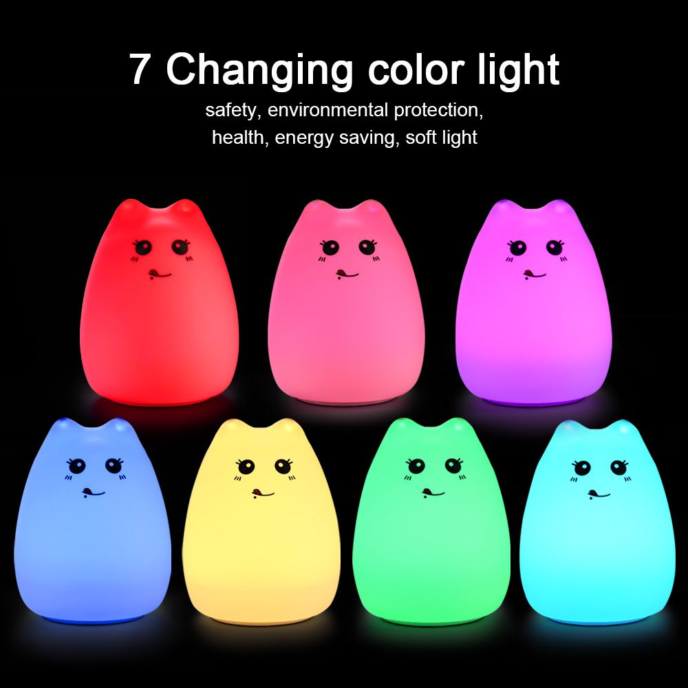 2017 Cute Cat Lamp Colorful Light Silicone Cat Night Lights 2 Modes Children Cute Night Lamp Bedroom Rechargeable Touch Sensor