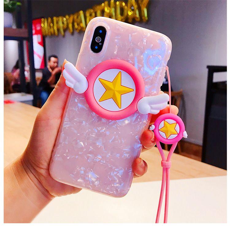 3D Magie engel Für iPhone X fall nette cartoon sailor moon flügel für iPhone 8 7 6 6 s plus rosa Sakura fall für iphone7 strap