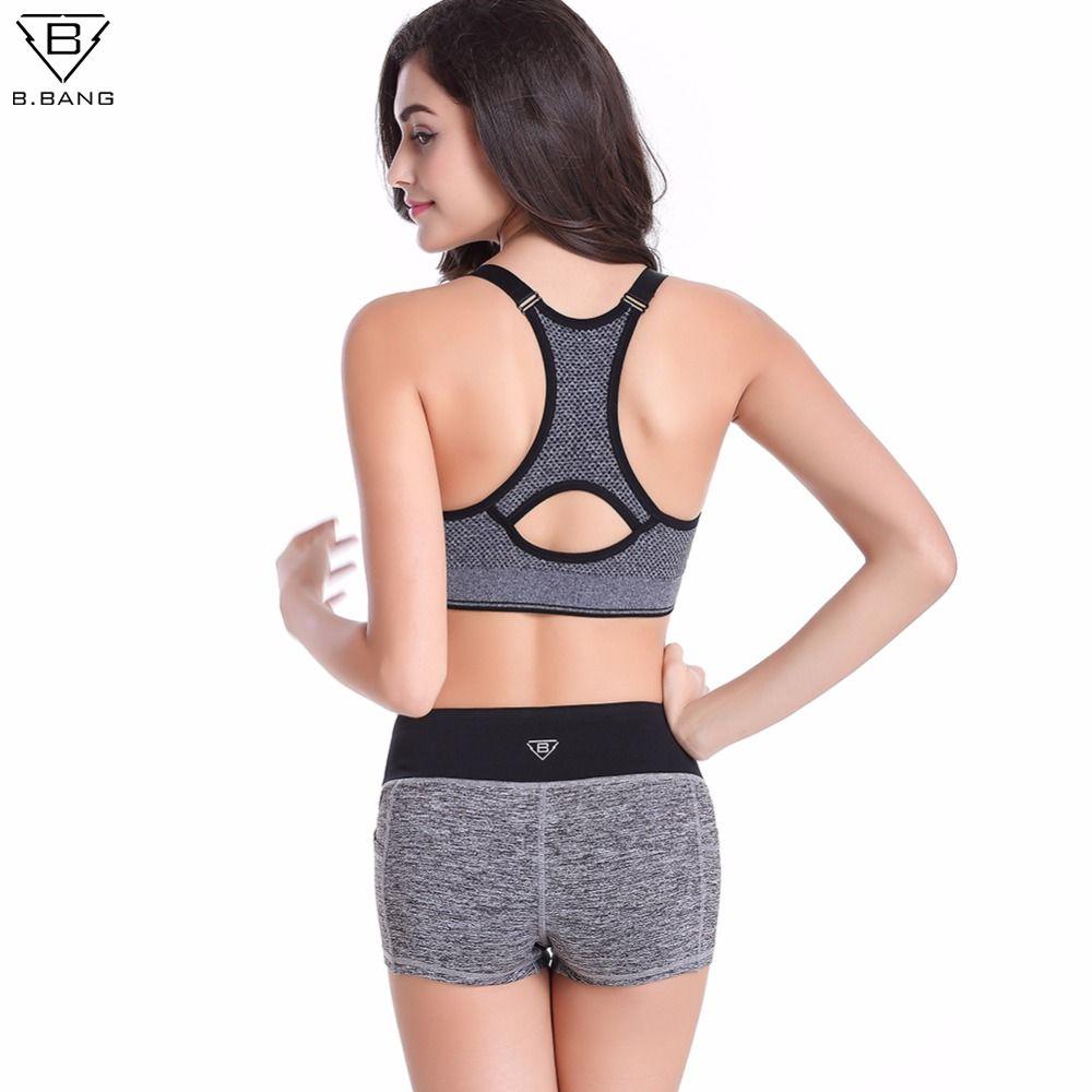 B.BANG Women Yoga Sets Running Sports Bra + Shorts Set Fitness Gym Push Up Seamless Bras Tops Elastic Short Pants for Women