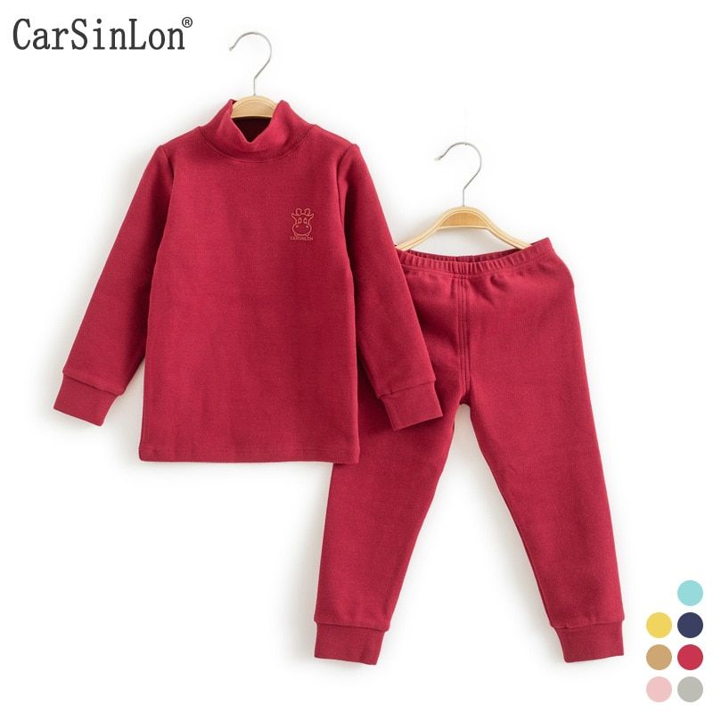 Kids <font><b>Thermal</b></font> Underwear Solid Thick Cotton High Collar Children's Warm Suit Clothes Baby Boys Girls Long Johns Pajamas Sets