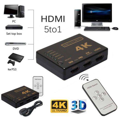 5 Port 4 Karat 3D HDMI Switcher Switch Selector Splitter Hub ir-fernbedienung HDTV 1080 p NEUE