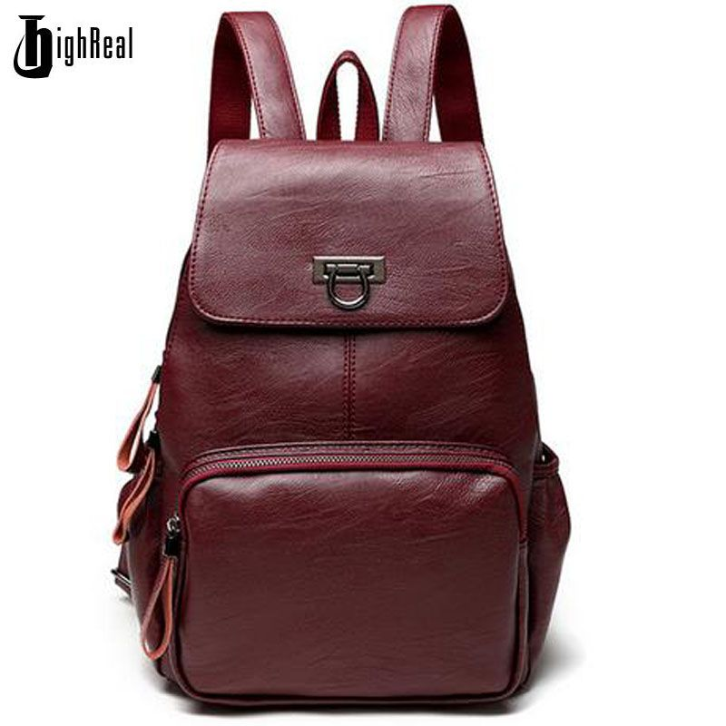 Designer Women's Backpacks Genuine Leather Female Backpack Women School Bag For Girls Large Capacity Shoulder Travel Mochila