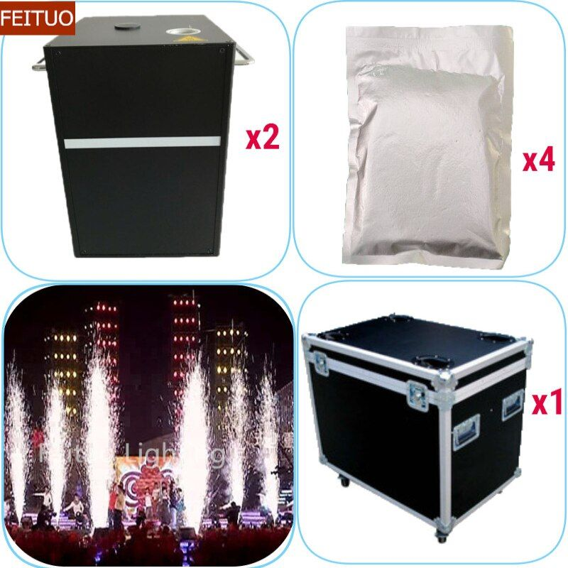 2pcs+flycase+4 Bags Powder Stage Effect Firecrackers 400w Cold Firework Machine Wireless Remote Pyrotechnics Wedding Fountain