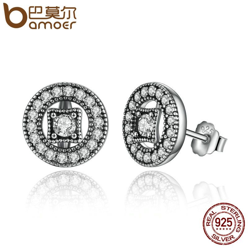 BAMOER Authentic Real 925 Sterling Silver Vintage Allure, Clear CZ Stud Earrings Women Wedding Jewelry Femme Brincos PAS485