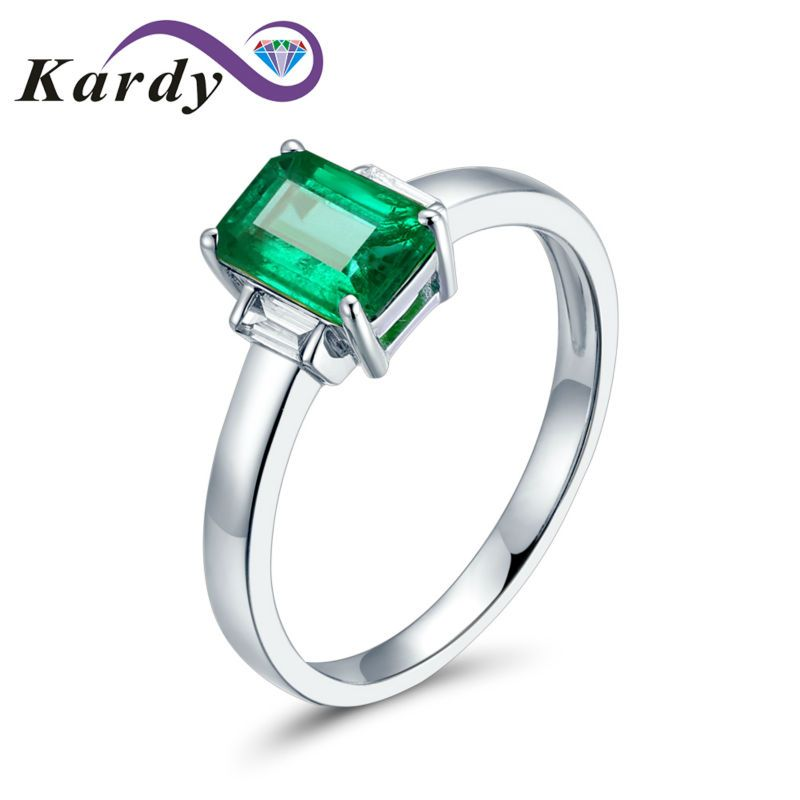 Simple Elegant Natural Columbia Emerald Gemstone Solid 14K White Gold Baggette Diamond Promise Wedding Bridal Band Women's Ring