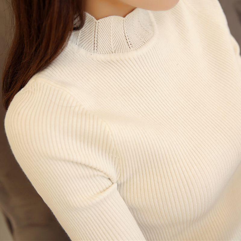 2018 корейская модная Женская свитера и пуловеры Sueter с гофрированными рукавами водолазка сплошной тонкий сексуальный эластичные женские топ...