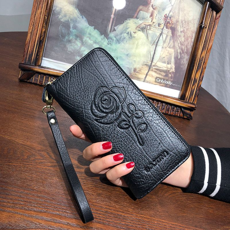 AOEO calfskin Girls wallet for women genuine leather purse Embossed Wallets walet wristlet ladies wallet female portomonee