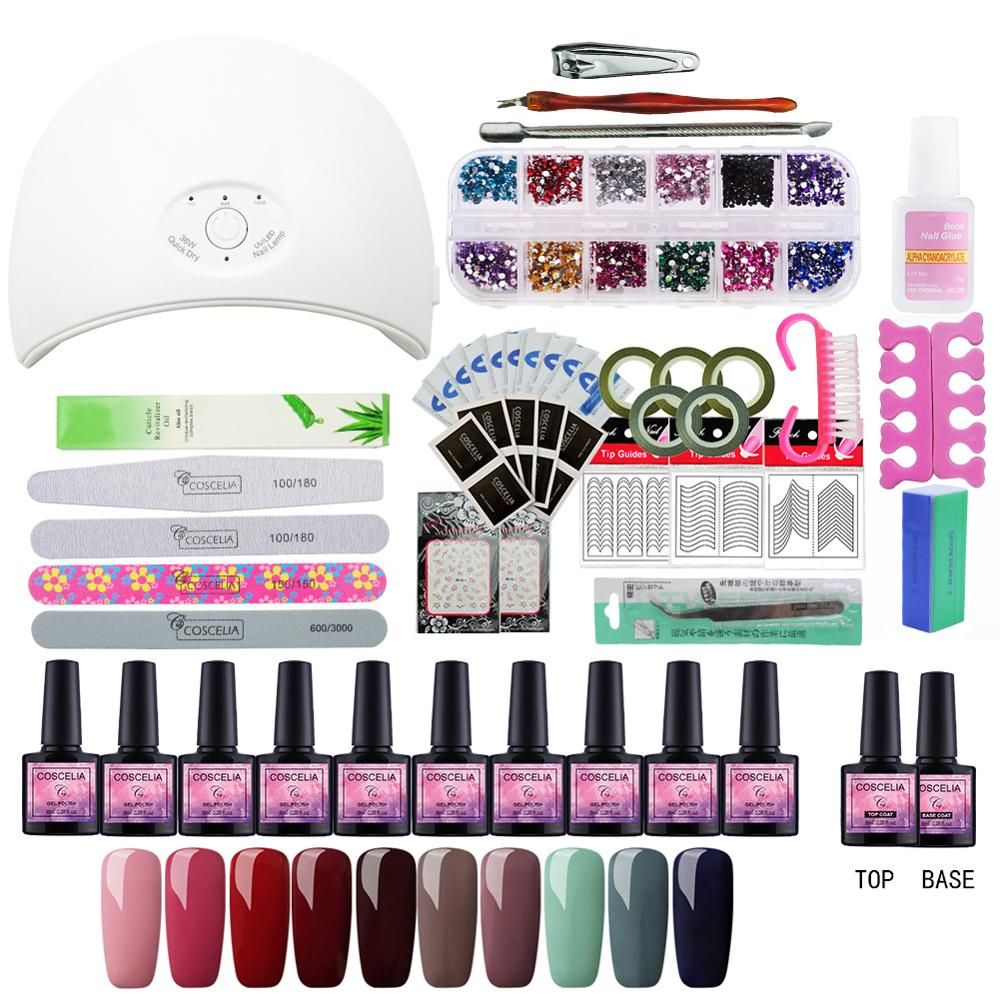 Hot Full Manicure Set With Lamp Gel Set 24W/36W UV LED Lamp For Nail Art Set 10pc 8ml Gel Nail Polish Kit With Lamp Gel Nail Kit