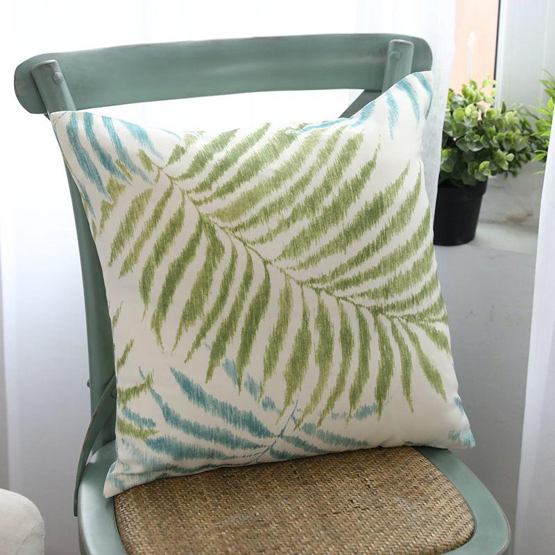 Moderne vert feuilles housse de coussin Polyester coton américain pays paume feuille impression taie d'oreiller 45x45/60x60 maison décorective