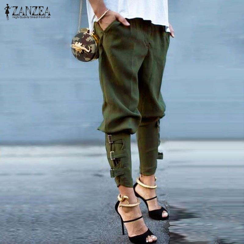 Fashion Harem Pants <font><b>2018</b></font> Women Trousers Casual Loose Pockets Elastic Waist Pants Leisure Army Green Pants Plus Size M-XL