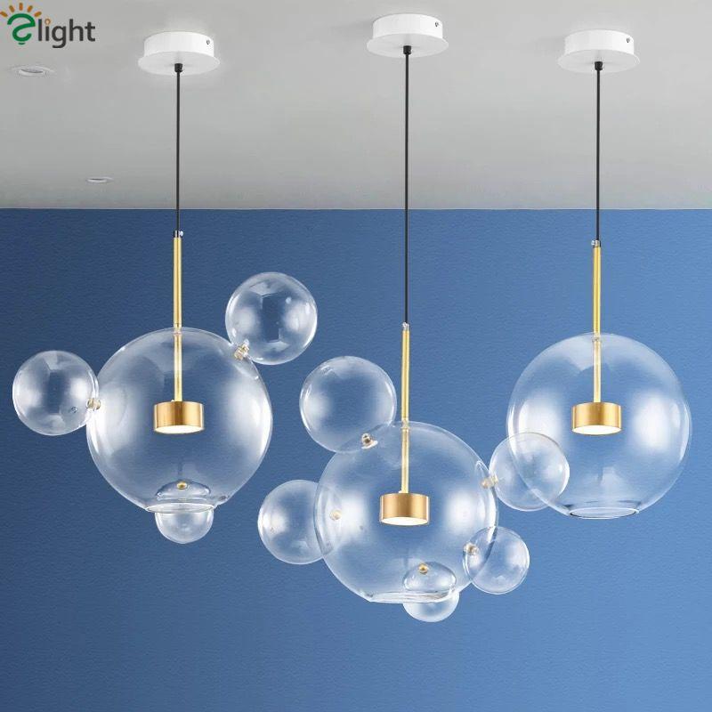 Moderne Bolle Lampe Led Pendentif Lumière En Verre Globe Led Suspendus Luminaires Lampe Éclairage Intérieur Lustre luminaria Suspendre Lampe