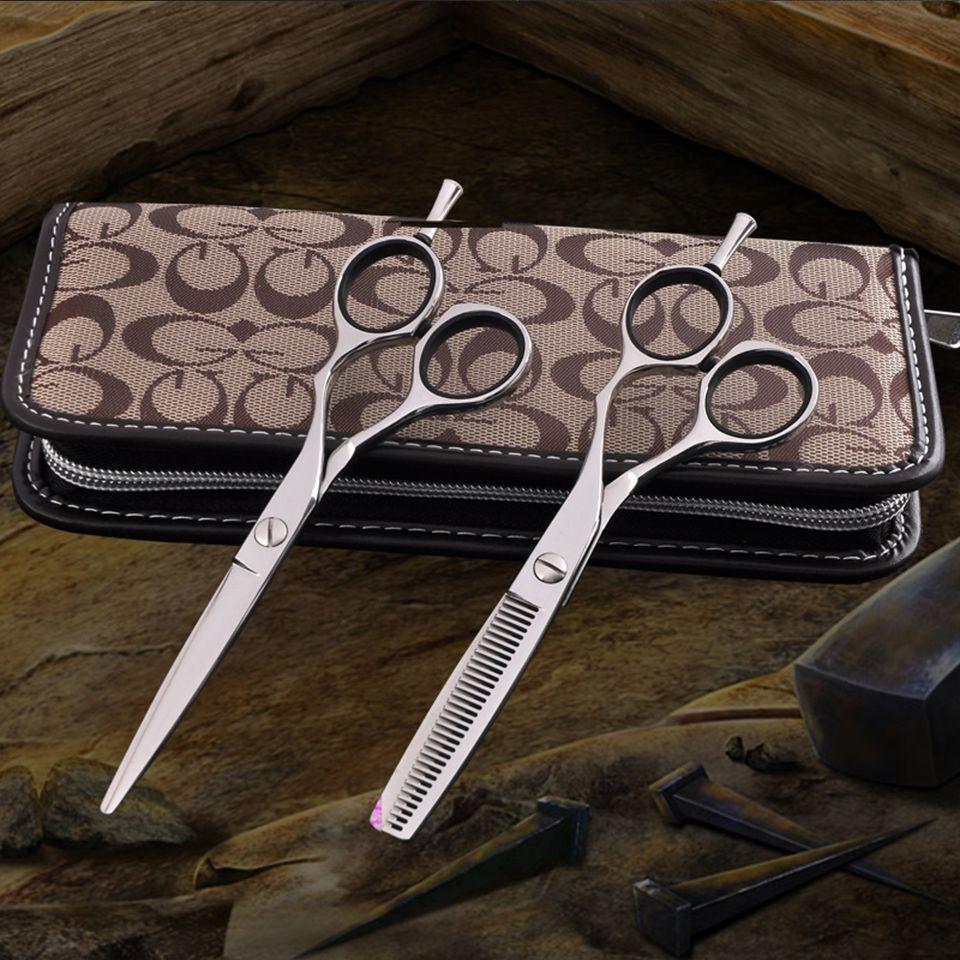 Ensemble de ciseaux de coiffure professionnels de haute qualité couleur argent coupe de coiffure 6 pouces pour coiffeur Tesoura