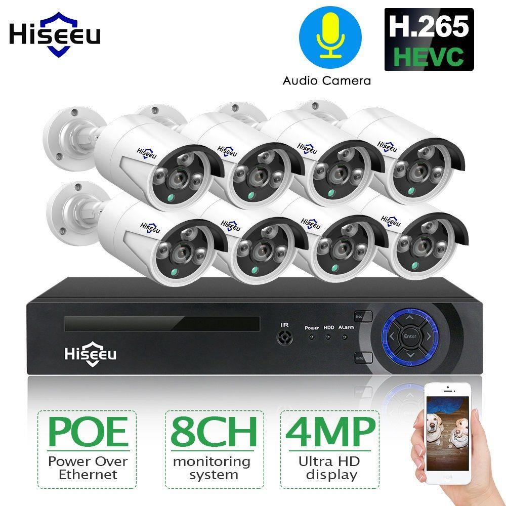 H.265 8CH 4MP POE Kamera Sicherheit CCTV System POE NVR Freien Wasserdichte Video Überwachung Kit Hiseeu