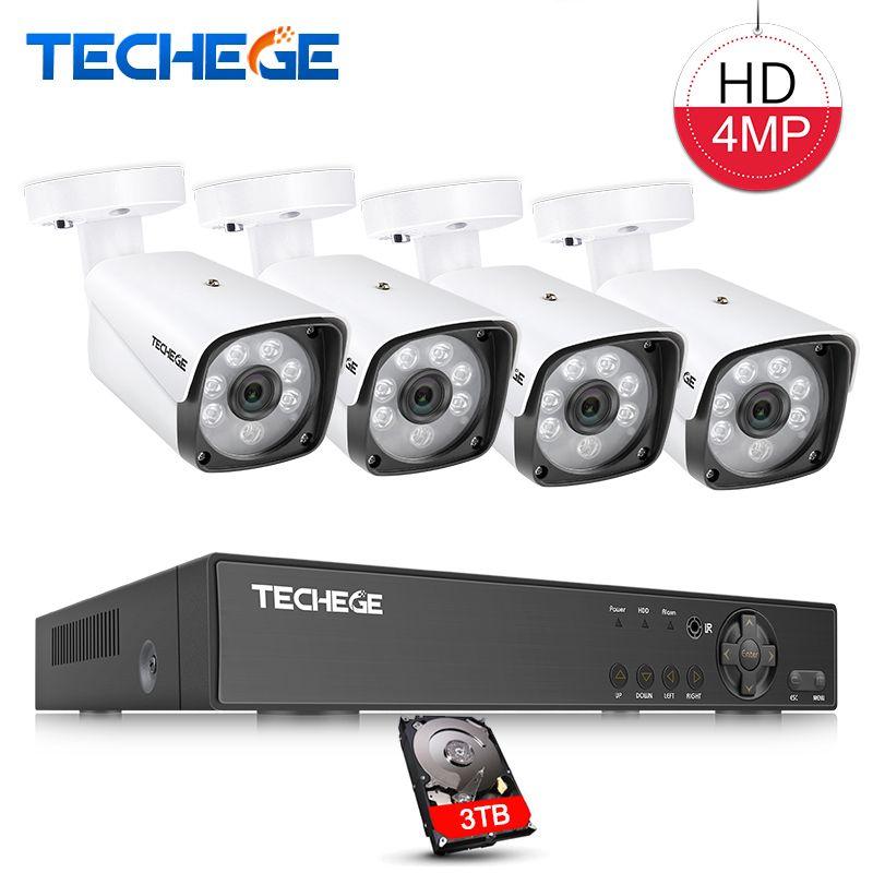Techege 4MP CCTV Surveillance Kit 4CH DVR 1080P 2K Video Output 4mp 2560*1440 Security AHD CCTV Camera System Kit Remote View