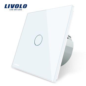 Livolo ЕС Стандартный настенный выключатель сенсорный переключатель Роскошный белый кристалл Стекло, 1 gang 1 позиционный переключатель, AC 220-250 ...
